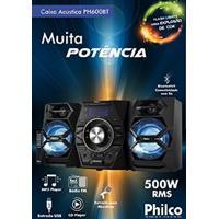 Mini System Com Cd. Mp3. Bluetooth. Potência 500W Rms. Entradas Usb E Auxiliar Philco Pb600Bt