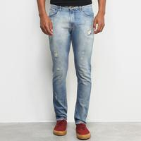 Calça Jeans Skinny Calvin Klein Estonada Puídos Destroyed Masculina - Masculino-Azul