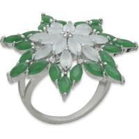 Anel Flor Com Zircônias Verdes E Banho Em Prata Aro 14