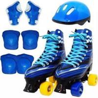 Patins Quad 4 Rodas Clássico Retro Infantil Com Kit Proteção - Masculino