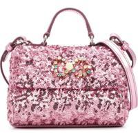 Dolce & Gabbana Kids Bolsa Tiracolo Com Paetês - Rosa