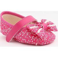 Sapato Boneca Floral Com Laço- Rosa Claro & Marrom Escurtico Baby