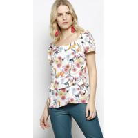 Blusa Ciganinha Floral - Off White & Rosa - Ahaaha