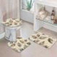 Jogo Tapetes Para Banheiro Folhas Marble Único