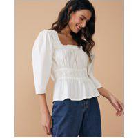 Amaro Feminino Blusa De Decote Quadrado Com Elásticos Na Cintura, Off-White