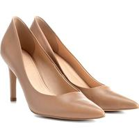 Scarpin Couro Shoestock Salto Alto Básico - Feminino-Nude