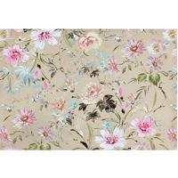Tapete Floral- Bege Claro & Branco- 60X40Cm- Taptapetes Junior