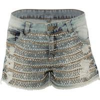 Shorts Jeans Com Pedraria Canellado