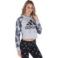 Blusão De Moletom Com Capuz Adidas Sid Hood Aop - Feminino - Cinza Cla/Cinza Esc