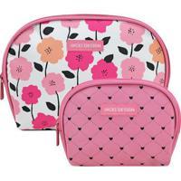 Kit De Nã©Cessaires Floral- Rosa & Branco- 2Pã§S- Jacki Design