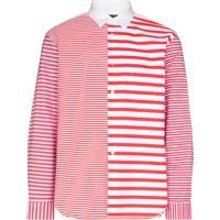 Comme Des Garçons Homme Plus Camisa Listrada De Algodão - Vermelho
