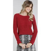 Suéter Feminino Em Tricô Vermelho