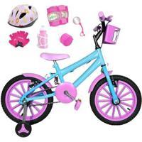 Bicicleta Infantil Aro 16 Com Capacete E Kit Proteção - Feminino