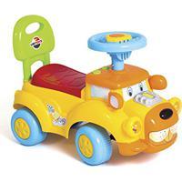 Carrinho Andador Infantil Primeiros Passos Dog Encosto Direção Maneável Musica Buzina Unitoys (Amarelo)