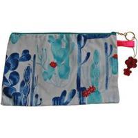 Necessaire Ania Store Cactos Feminina - Feminino-Azul
