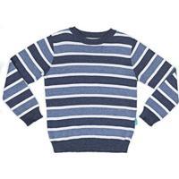 Blusa Infantil Jokenpô Tricot Listrada Masculina - Masculino-Azul