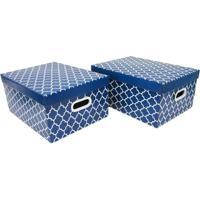 Jogo De Caixas Organizadoras Geométricas- Azul Escuro & Boxmania