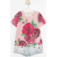 Conjunto De Blusa Floral + Short Jeans- Rosa & Azul-Luluzinha