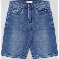 Bermuda Jeans Juvenil Em Moletom Com Bolsos Azul Médio