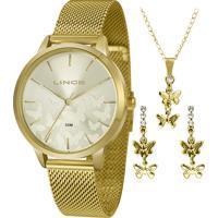 Kit De Relógio Analógico Lince Feminino + Brinco + Colar - Lrg4601L Kw01C1Kx Dourado