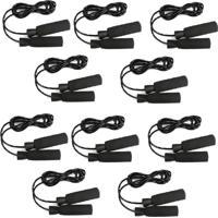 Kit 10 Cordas De Pular Yangfit Em Pvc Com Rolamento Corda Alta Resistência Preto