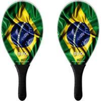 Kit Frescobol 2 Raquetes Fibro De Vidro Evo Brasil - Unissex
