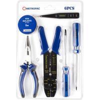 Kit De Ferramentas Com 6 Peças Para Eletrica Azul E Preto