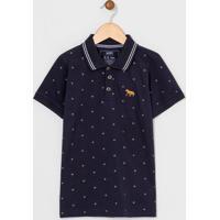 Camiseta Infantil Polo Estampada - Tam 5 A 14 Anos
