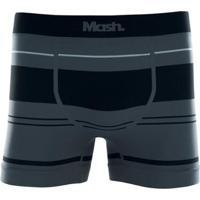 Cueca Boxer Microfibra Sem Costura Masculina - Masculino-Cinza+Chumbo