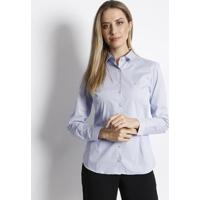 Camisa Listrada Com Bordado - Branca & Azul Claro - Dudalina