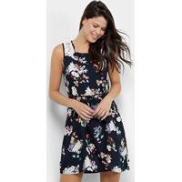 Vestido Curto Efa Renda Amarração Floral - Feminino-Azul+Roxo