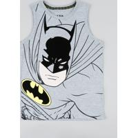 Regata Infantil Batman Gola Careca Cinza Mescla