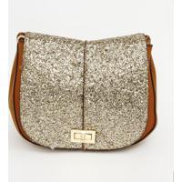 e8b24063d Bolsa Transversal Com Glitter - Marrom & Dourada - 1Fedra