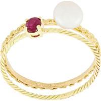 Wouters & Hendrix Gold Conjunto De Anéis Com Pérola E Rubi - Dourado