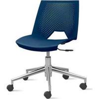 Cadeira Strike Assento Azul Base Rodizio Em Aluminio - 54081 - Sun House