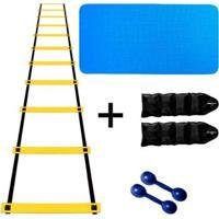 Kit Colchonete Eva 10Mm + Par Halter 1Kg + Par Caneleira 2Kg + Escada Agilidade Nylon - Unissex