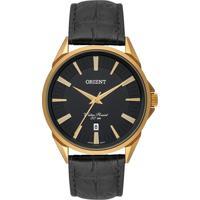 Relógio Orient Masculino Mgsc1010 P1Px Pulseira Couro Preta Caixa Aço Dourada Mostrador Preto