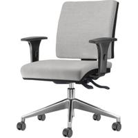 Cadeira Simple Com Braco Assento Courino Cinza Claro Base Aluminio Piramidal - 54930 - Sun House