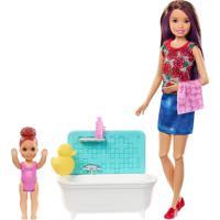 Barbie Skipper Babysitter Hora Do Banho Mechas Roxas -Mattel - Kanui