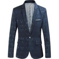Blazer Masculino Design Bordado - Azul Escuro
