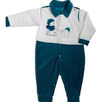 Macacão Longo Bebê Piftpaft Plush Enxoval Inverno Masculino - Masculino-Verde