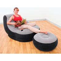 Poltrona Inflável Ultra Lounge Com Puff Cinza E Preta 68564 Intex