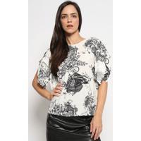 Blusa Floral Com Animais - Off White & Preta - Colcccolcci