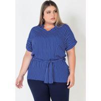 Blusa Bata Plus Sizeazul Com Amarração