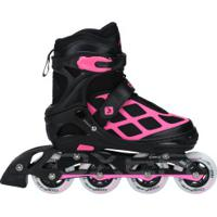 Patins Oxer Pixel First Wheels - In Line - Fitness - Ajustável - Preto/Rosa