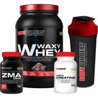 Kit Waxy Whey 900G Chocolate Zma Drol 120 Cápsulas 100% Creatine 100G Coqueteleira – Bodybuilders