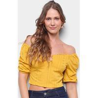 Blusa Eagle Rock Ombro A Ombro Rendada Feminina - Feminino-Amarelo