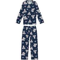 Pijama Longo Estampado Coalas Malwee Liberta Malwee Liberta Masculino - Masculino-Marinho