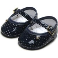 Sapato Pimpolho Menina Coração Azul-Marinho