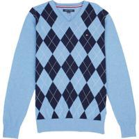 Suéter Tommy Hilfiger Masculino Argyle Losango Azul Claro